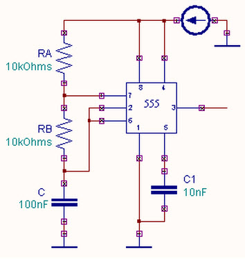 Astable Multivibrator using a 555 Timer IC Working