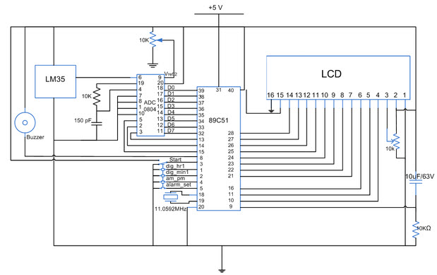 Digital Clock Circuit With 8051 Microcontroller
