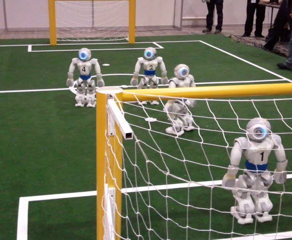 Soccer Playing Robot Working