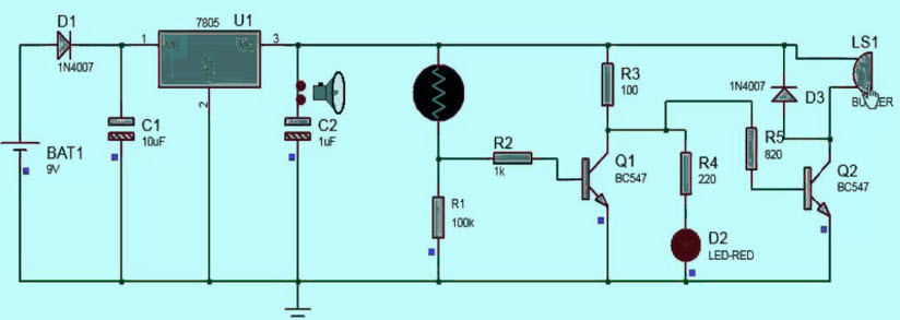 Electronic Eye Controlled Security System Circuit