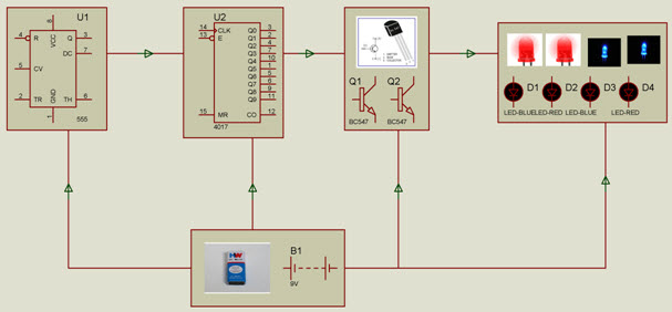 Police Lights Breadboard Project Block Diagram by www.edgefxkits.com