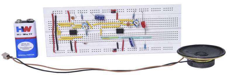 Police Siren Breadboard Project Circuit by www.edgefxkits.com