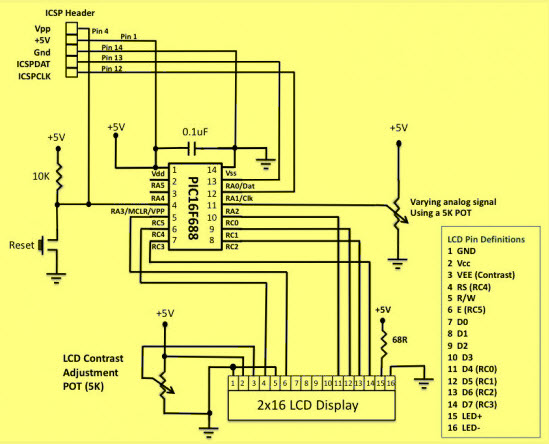 Circuit Diagram of ADC in PIC Microcontroller
