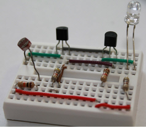 Dark Sensor Connections on Breadboard