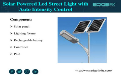 solar powered led street light with auto intensity control circuit andsolar powered led street light