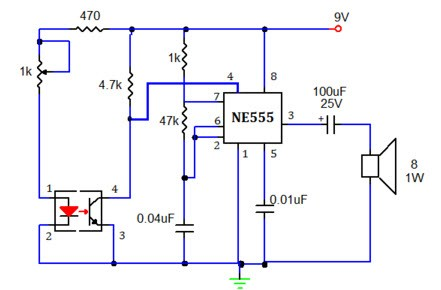 smoke detector circuit using 555 timer with working operation, Wiring block