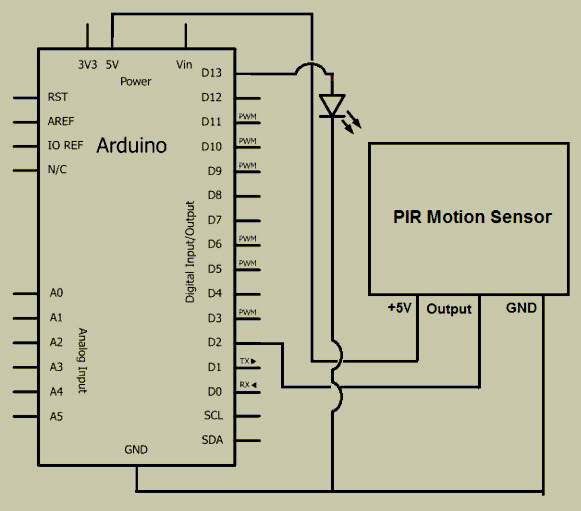 arduino based motion sensor light circuit