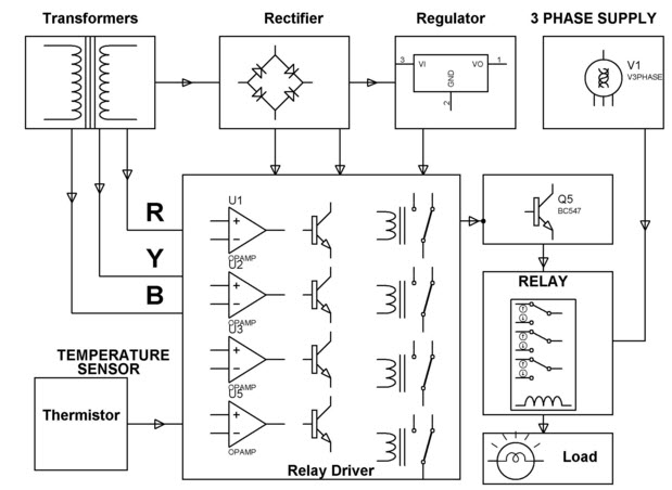 Induction Motor Protection System Circuit By Edgefxkits on voltage sensing relay wiring