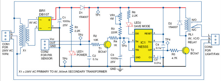 PIR Sensor based Power Saver Circuit
