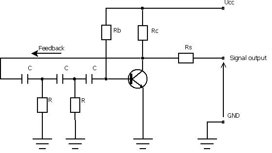 RC Phase Shift Oscillator Circuit using BJT