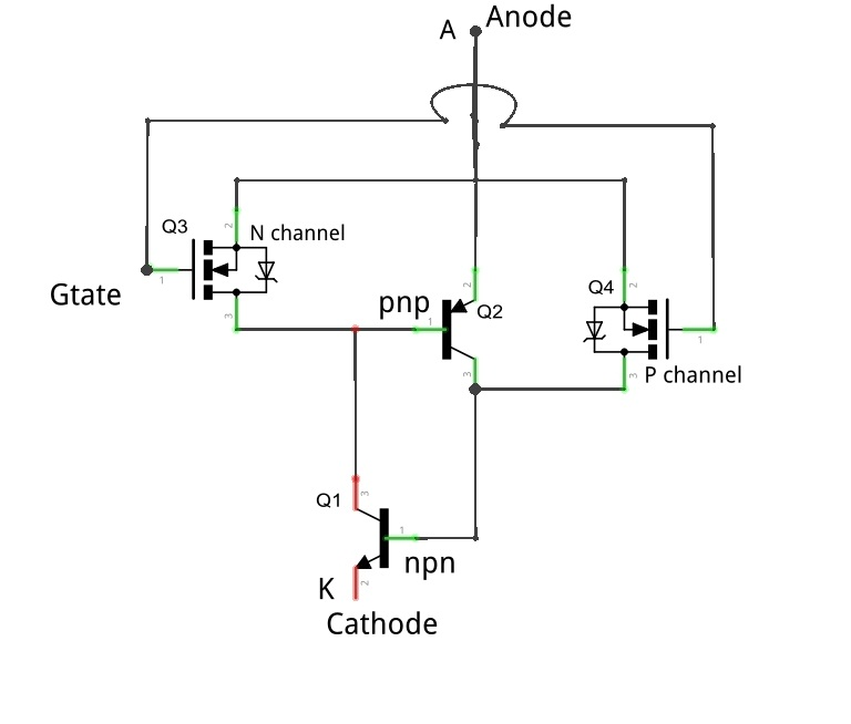 mos controlled thyristor working and applications, Wiring circuit