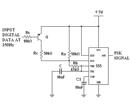 FSK Modulation Circuit Using 555 Timer