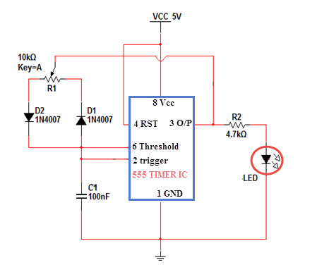 LED Driver Circuit for Brightness Control of LED by 555 Timer bipolar led driver circuit working using microcontroller and 555 led drivers diagram at fashall.co