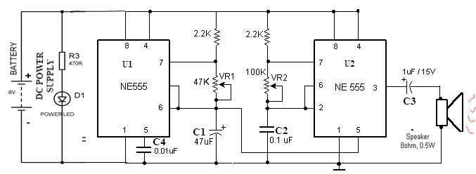 Police Siren Circuit Working Using NE555 Timer