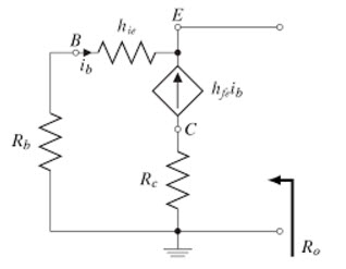 Common Collector Amplifier Output Resistance AC Equivalent Circuit