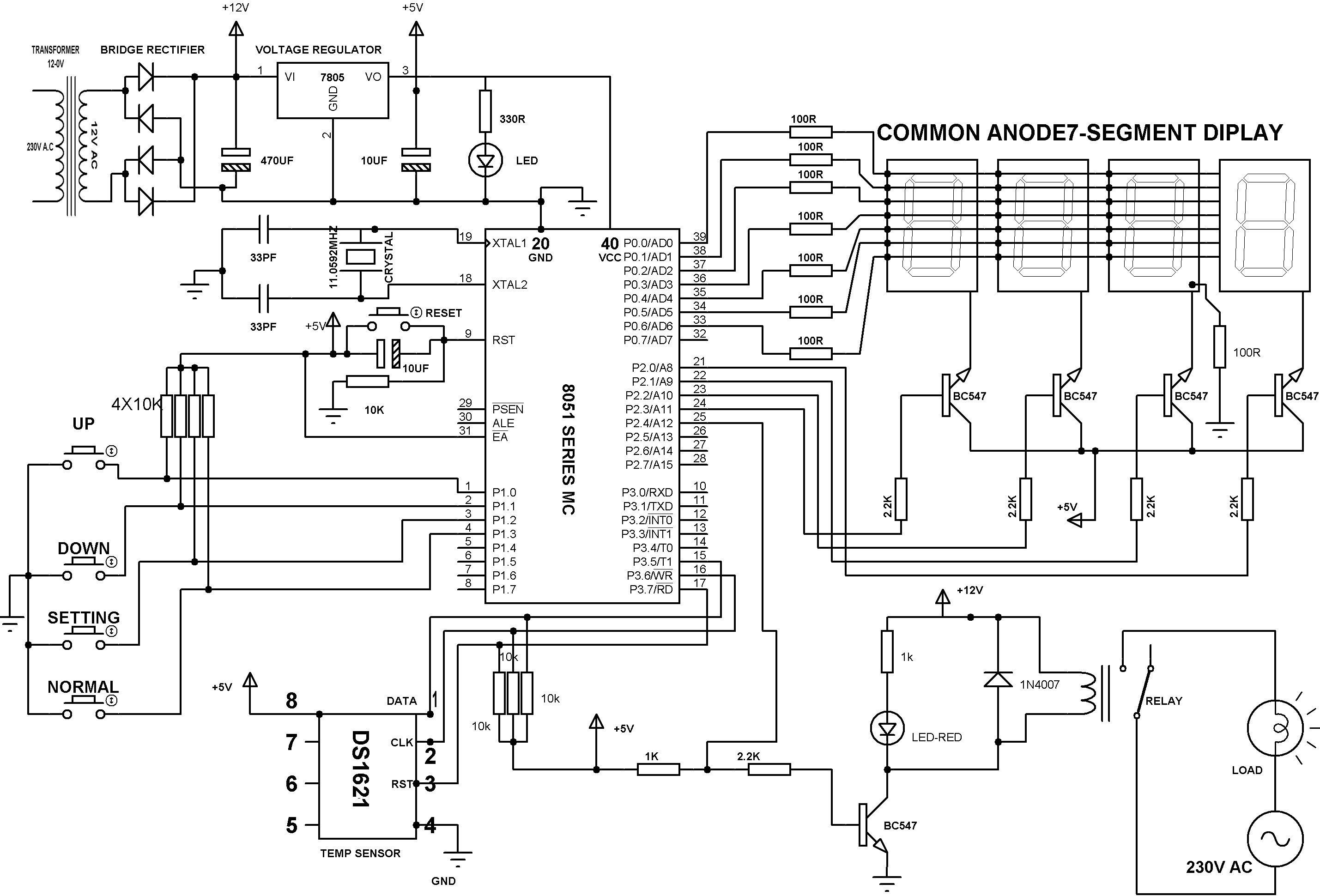 Precise Digital Temperature Controller Circuit Working And Its Regulated Power Supply Diagram Homemade Projects Schematic