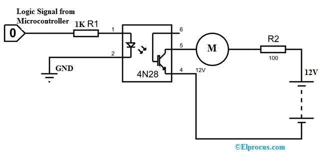 4N28 Optocoupler Circuit