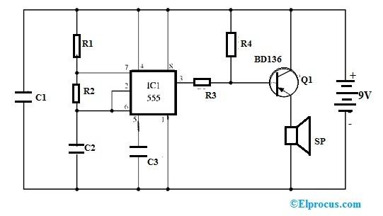 555 Alarm Circuit using BD136