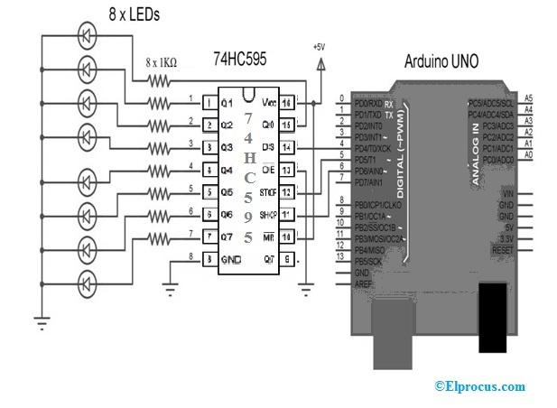 74HC595 IC Circuit using Arduino Uno