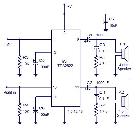 Bridge Type Power Amplifier Circuit Diagram Audiocircuit