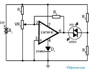 Battery Voltage Monitoring with LM709 IC
