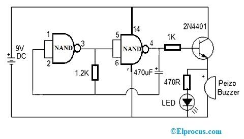 Beeper Circuit using CD4011 NAND Gate IC
