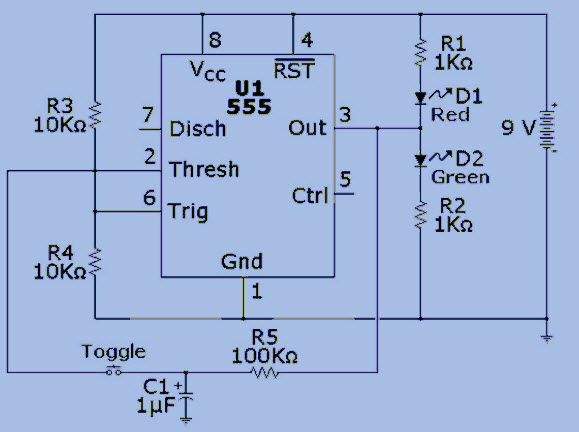Bistable Multivibrator using 555 timer