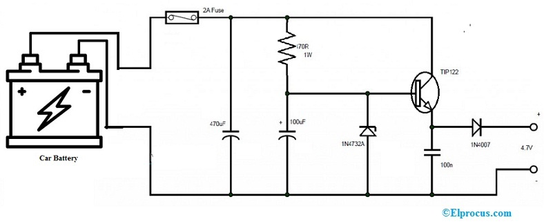 Car DC Adapter Circuit with 1N4732A Zener Diode