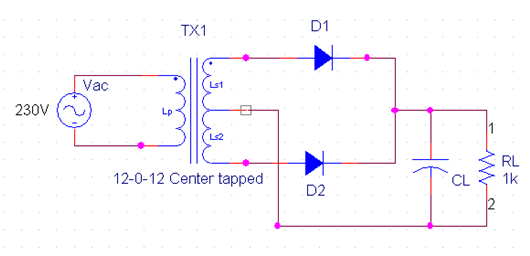center tap full-wave rectifier