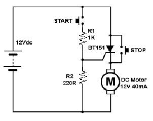 DC Circuit using BT151 SCR