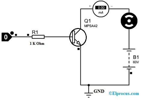 DC Motor Controlling with MPSA42 Transistor