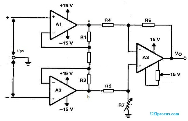 Differential Amplifier using OP07 IC