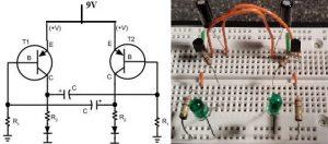 Flashing LED using Transistor