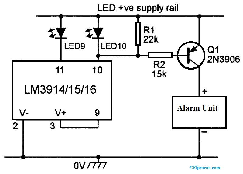 IC LM3914 based an Alarm Driver Circuit