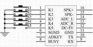 JQ6500 16P Module Circuit