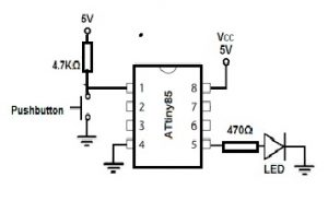 LED Circuit using ATtiny85 Microcontroller