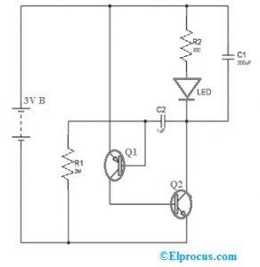 LED Flasher Circuit using 2SA1015 Transistor