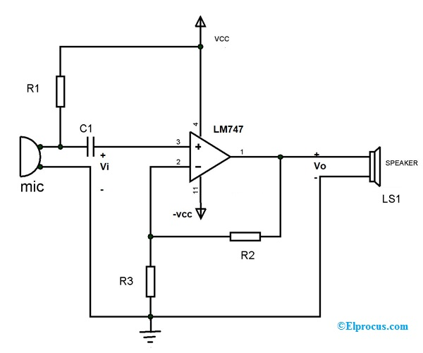 LM 747 Circuit Diagram