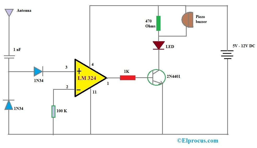 LM324 IC based Cell phone Detector Circuit Diagram