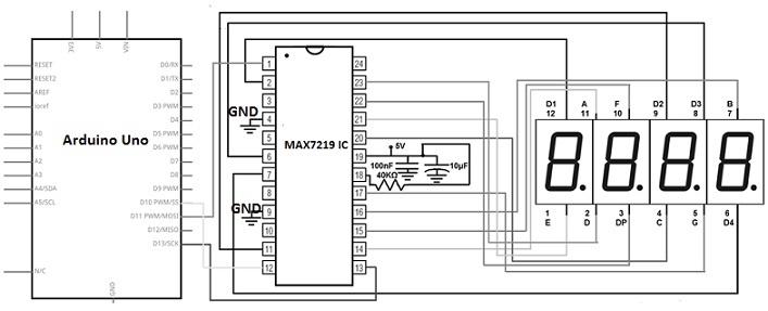 MAX7219 Display Driver IC Circuit