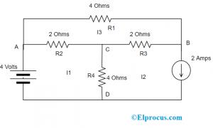 Mesh Current Method Across Three Meshes