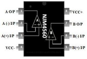 NJM4560 Dual Op-Amp Pin Configuration