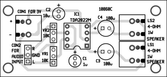 designing stereo amplifier circuit using tda2822 and its characteristics