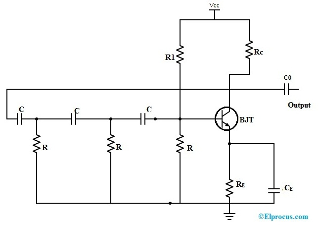 RC Phase Shift Oscillator Circuit using BJT