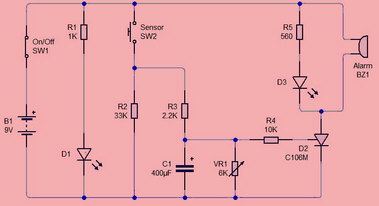 Sensor Alarm using Thyristor