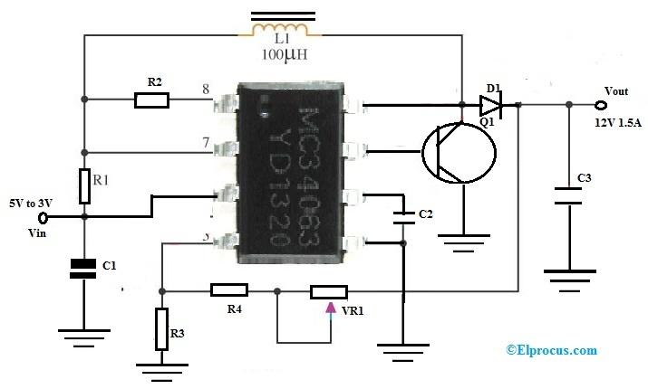Switching Regulator Circuit with MC34063 IC