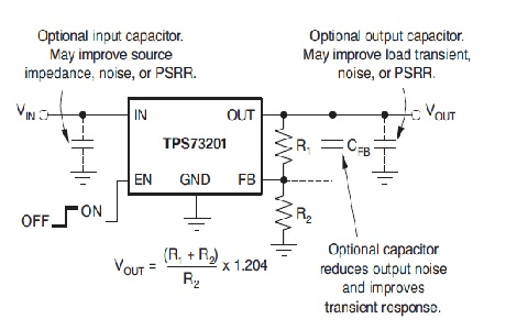 TPS732 adjustable voltage model circuit