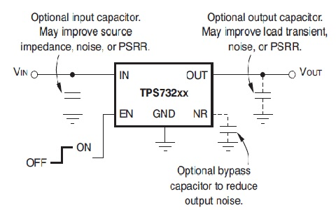 TPS732 fixed voltage model circuit