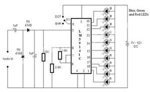VU Meter Circuit Diagram using LM3914 IC