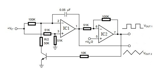 Voltage Controlled Oscillator with LM4558 IC